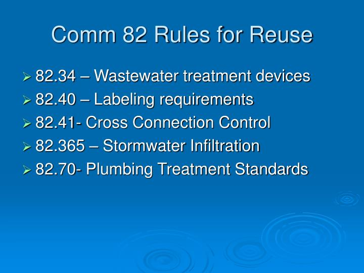 Comm 82 Rules for Reuse