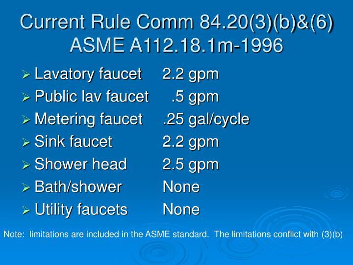 Current Rule Comm 84.20(3)(b)&(6)