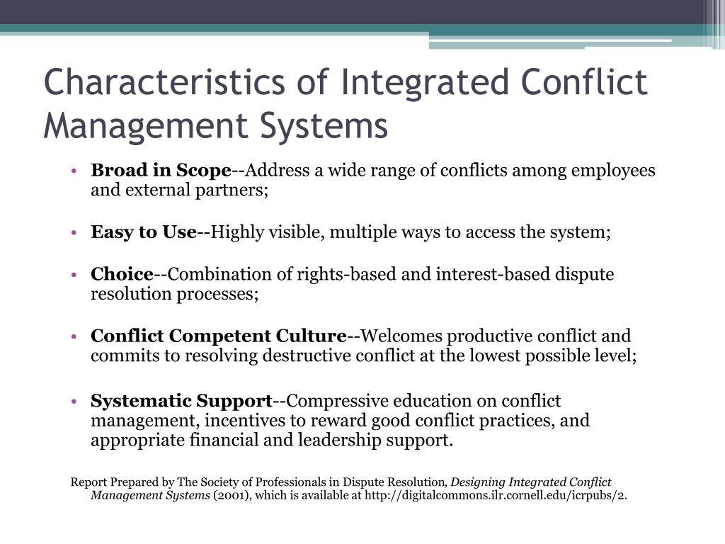 Characteristics of Integrated Conflict Management Systems