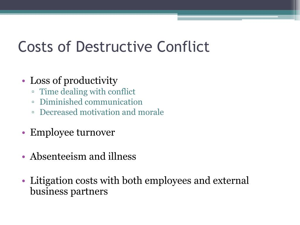 Costs of Destructive Conflict