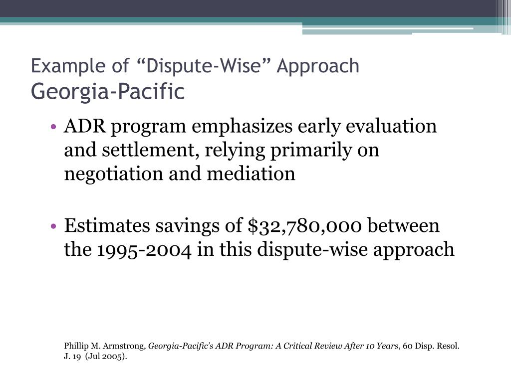 """Example of """"Dispute-Wise"""" Approach"""