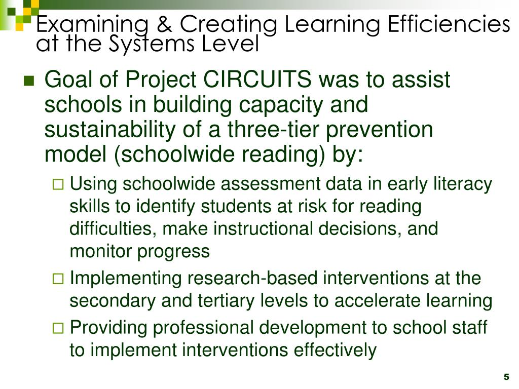 Examining & Creating Learning Efficiencies at the Systems Level