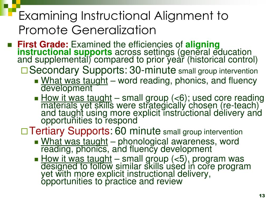 Examining Instructional Alignment to Promote Generalization