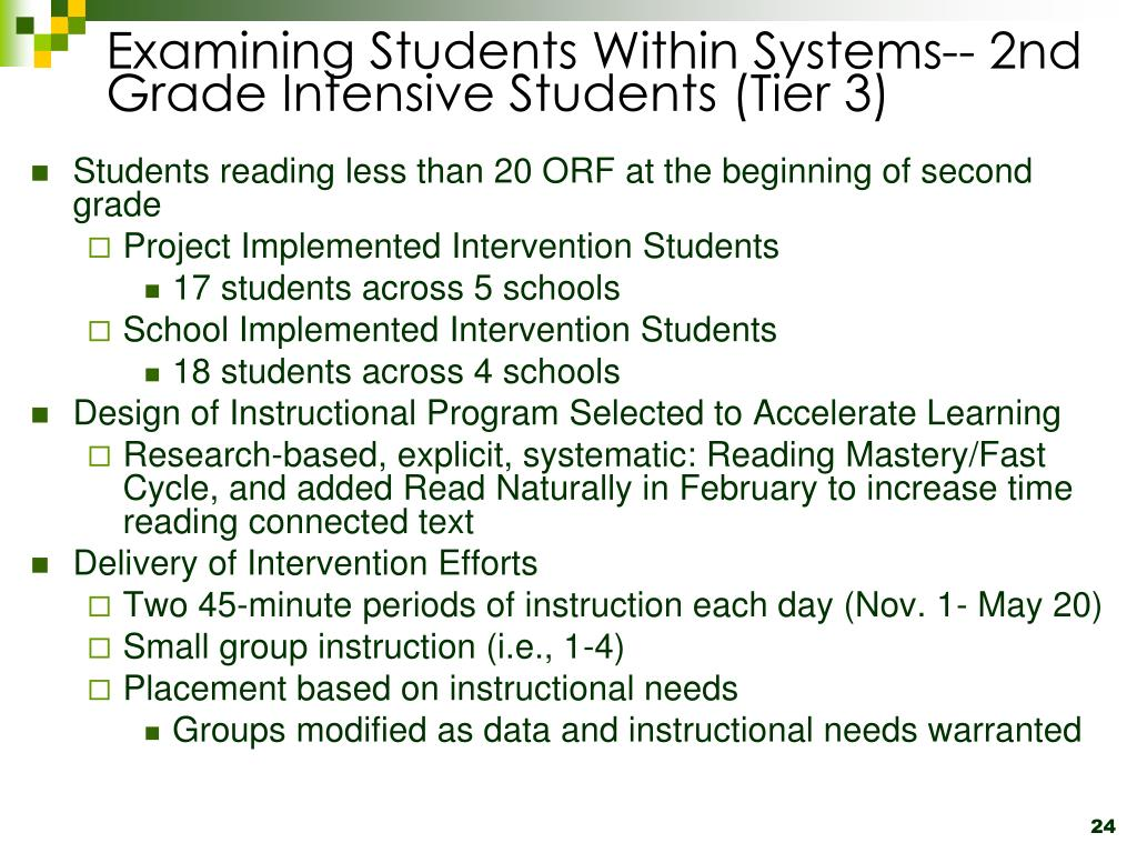 Examining Students Within Systems-- 2nd Grade Intensive Students (Tier 3)