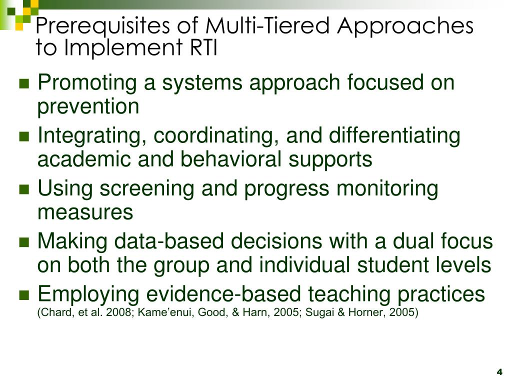 Prerequisites of Multi-Tiered Approaches to Implement RTI