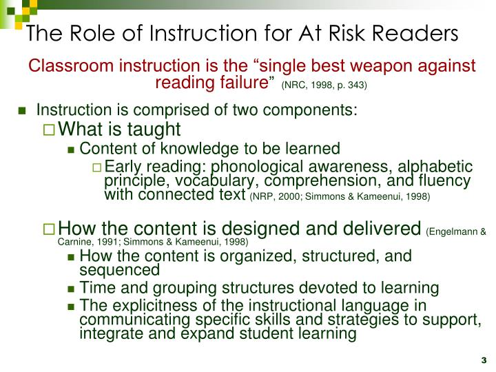 The role of instruction for at risk readers