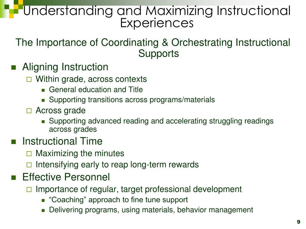 Understanding and Maximizing Instructional Experiences