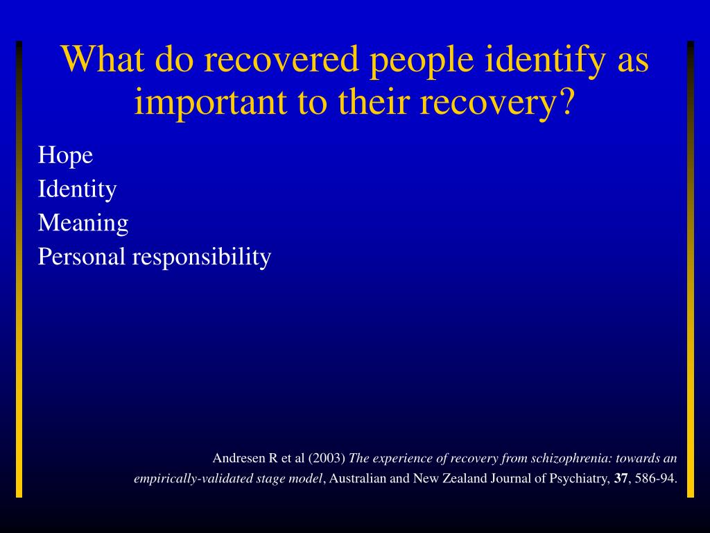 What do recovered people identify as important to their recovery?