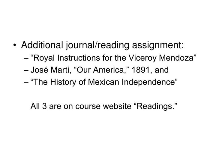 Additional journal/reading assignment:
