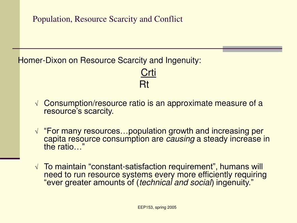 Population, Resource Scarcity and Conflict
