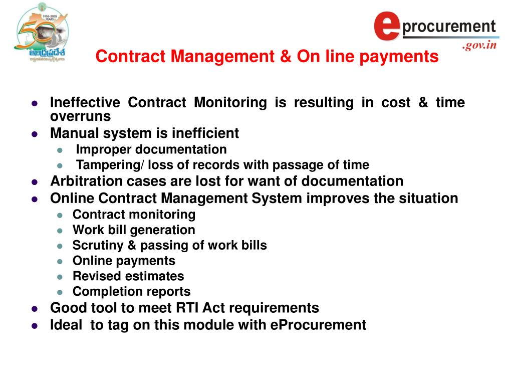 Contract Management & On line payments