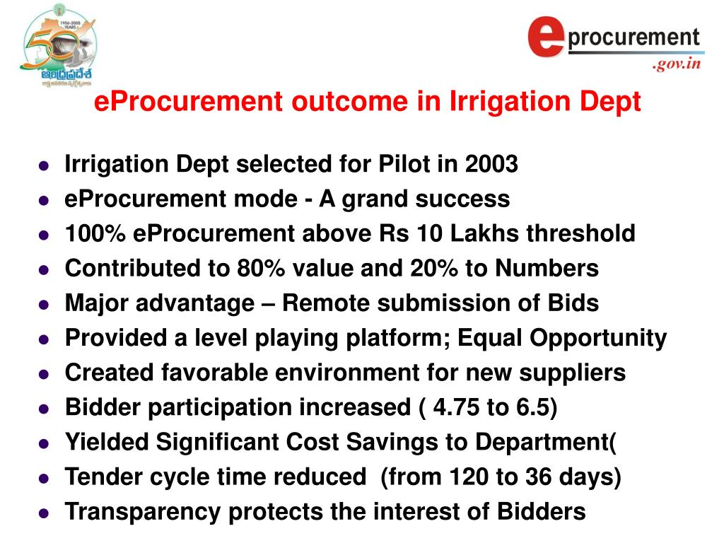 eProcurement outcome in Irrigation Dept