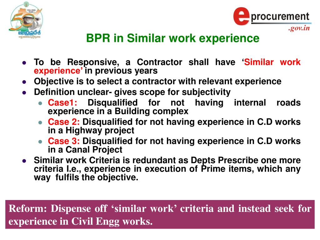 BPR in Similar work experience