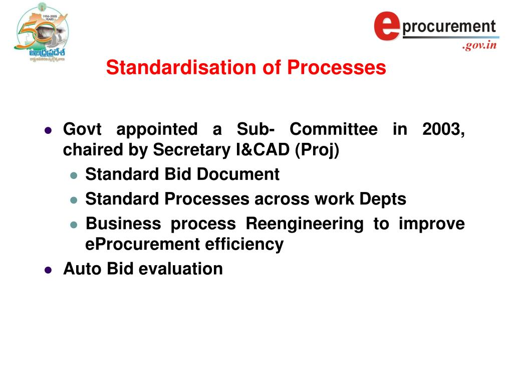Standardisation of Processes