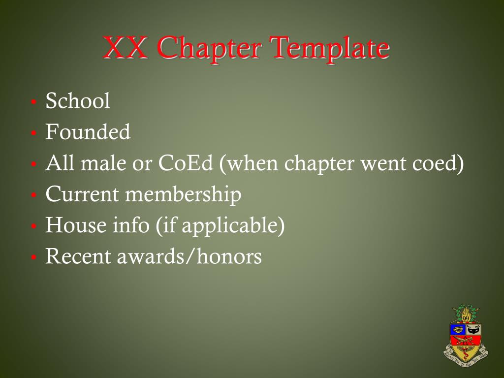 XX Chapter Template