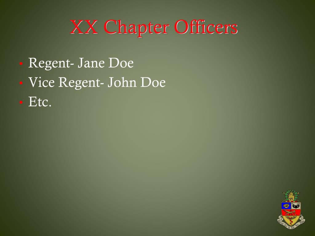 XX Chapter Officers