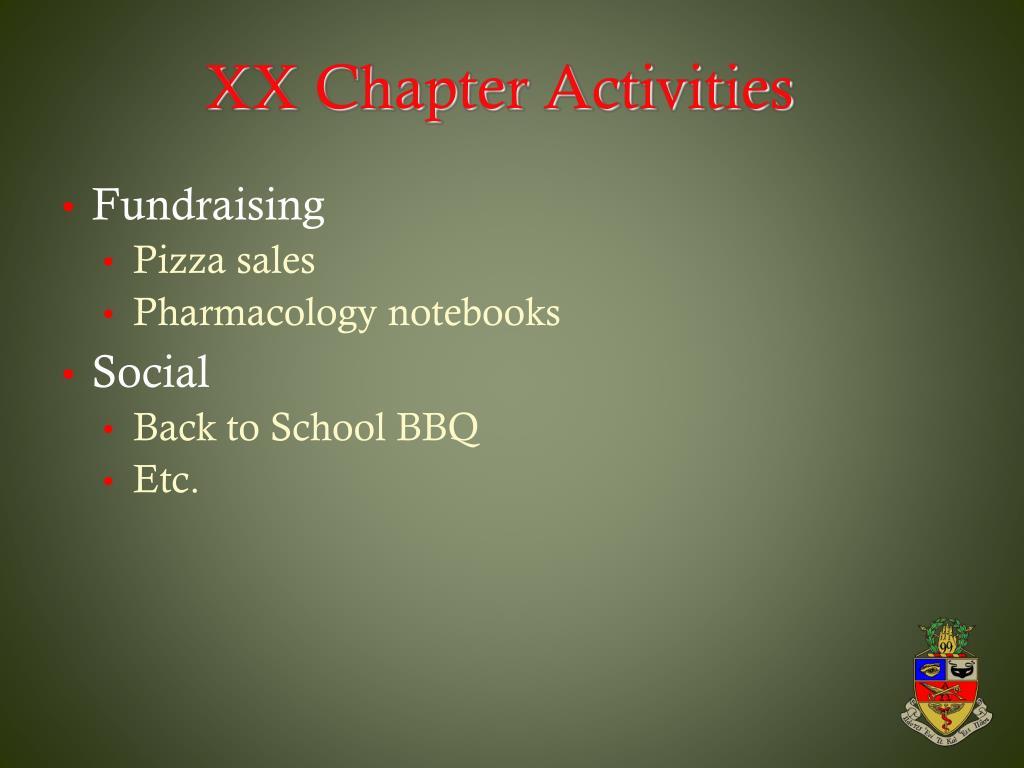 XX Chapter Activities