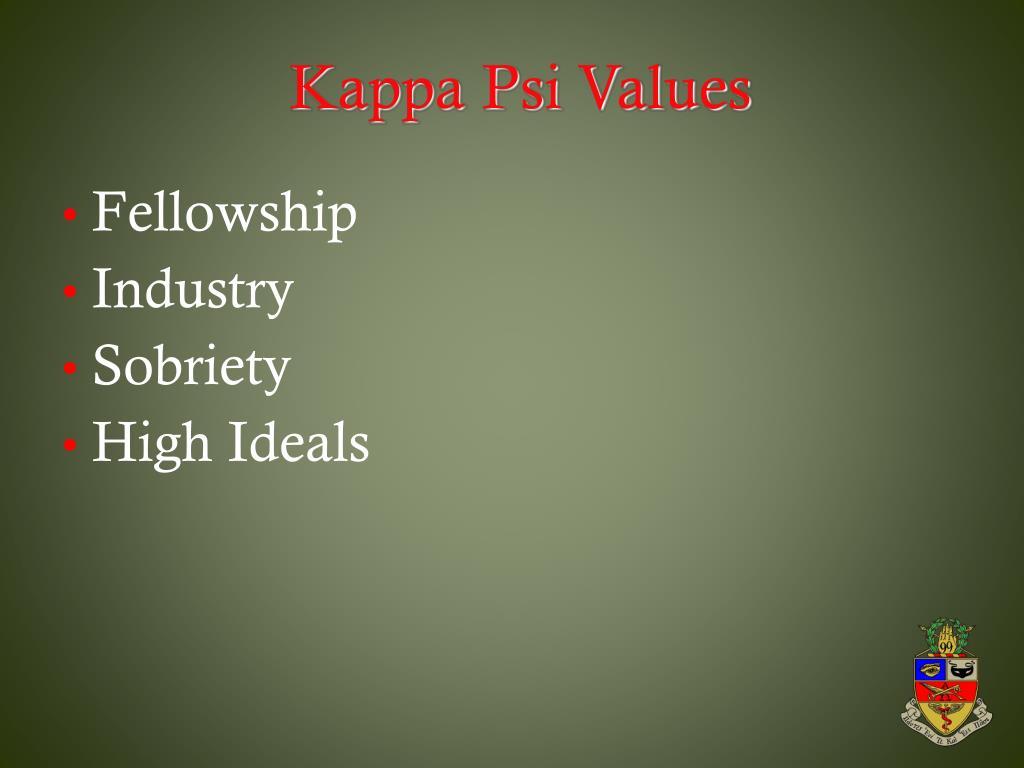 Kappa Psi Values