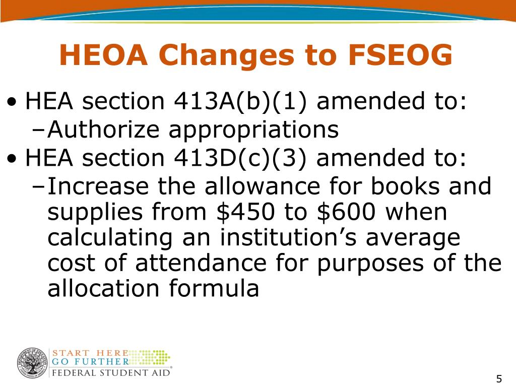 HEOA Changes to FSEOG