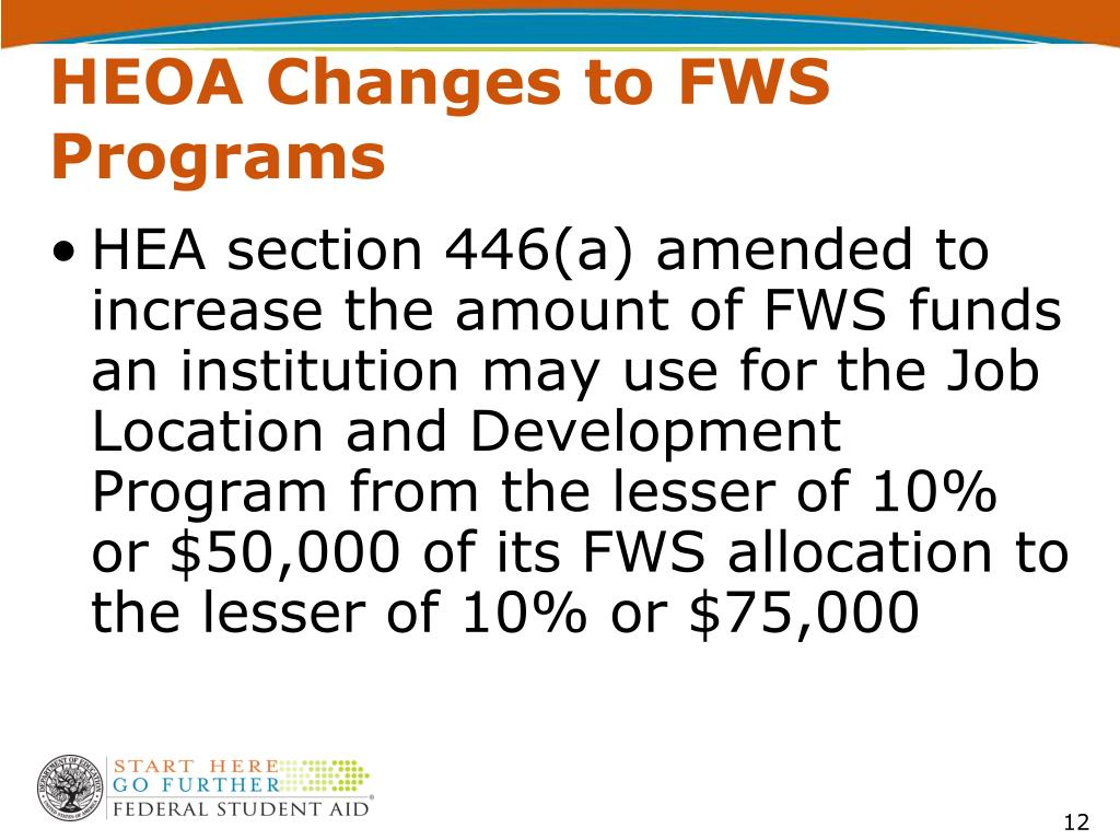 HEOA Changes to FWS Programs