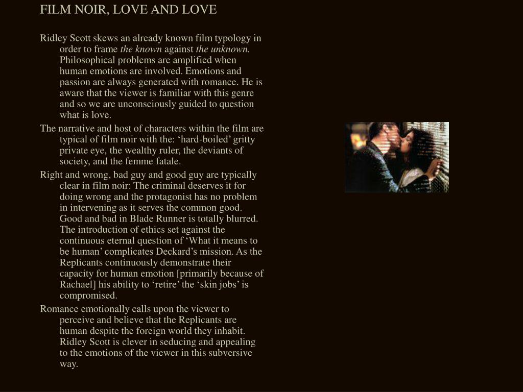 FILM NOIR, LOVE AND LOVE