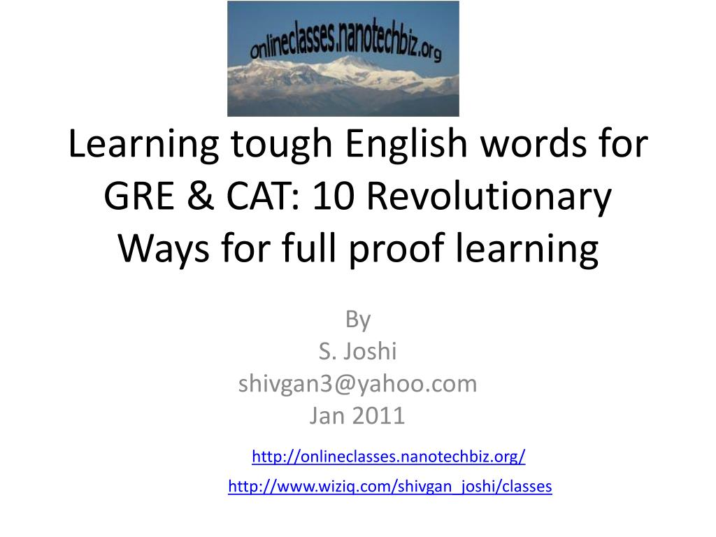 Learning tough English words for GRE & CAT: 10 Revolutionary Ways for full proof learning
