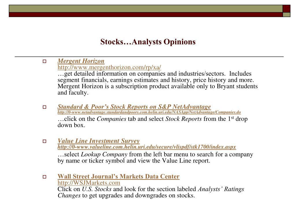 Stocks…Analysts Opinions