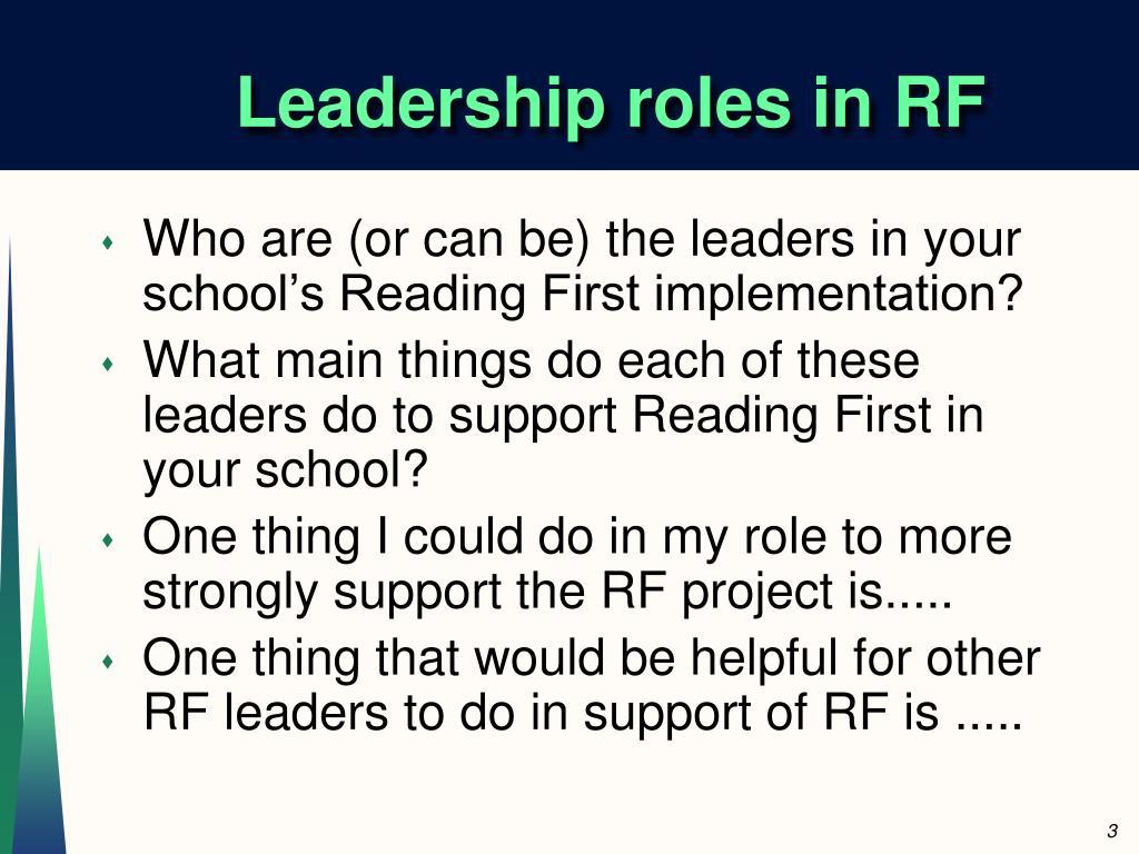 Leadership roles in RF