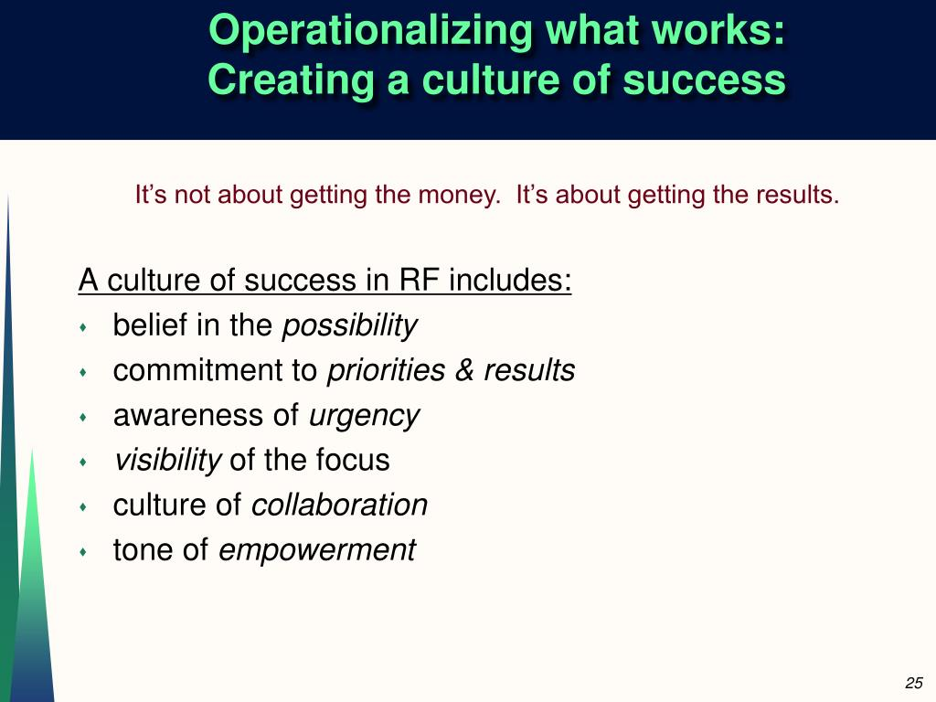 Operationalizing what works: