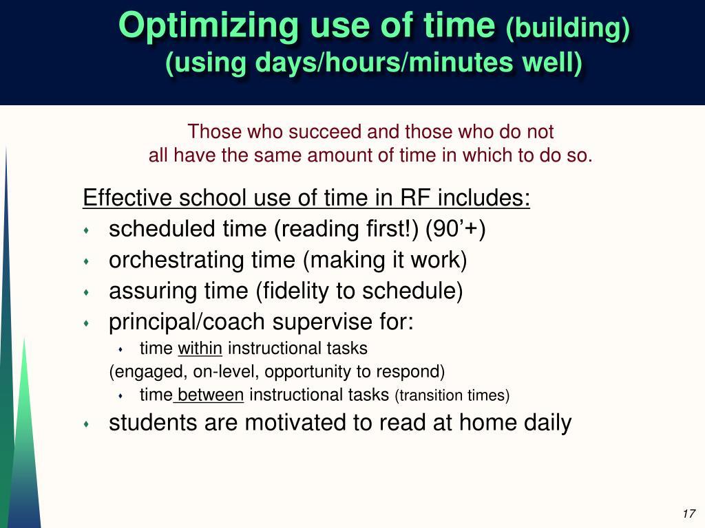 Optimizing use of time