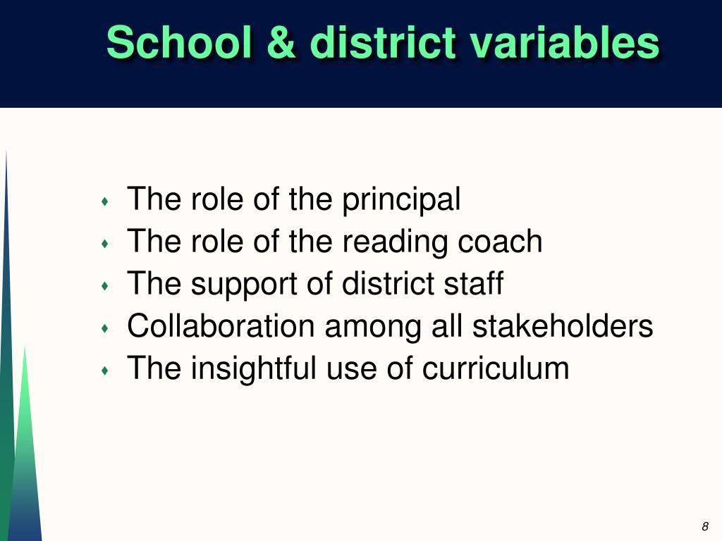 School & district variables