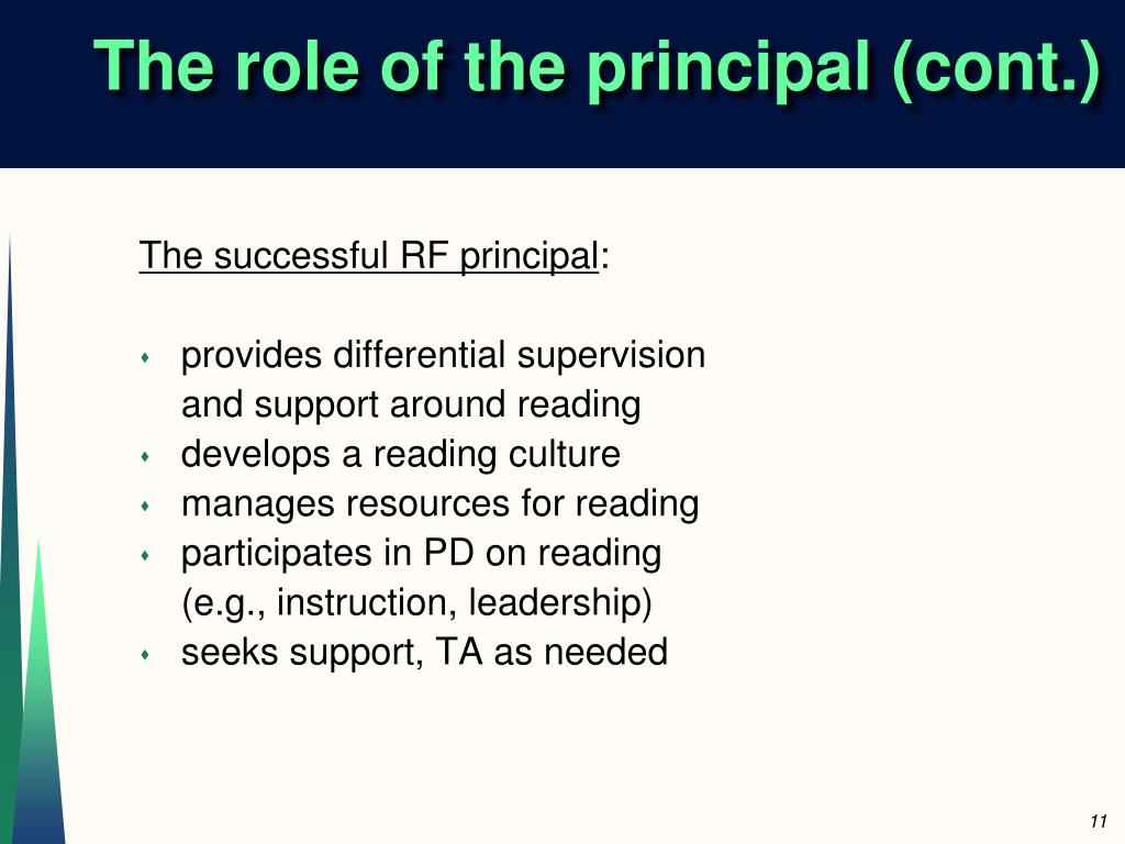 The role of the principal (cont.)