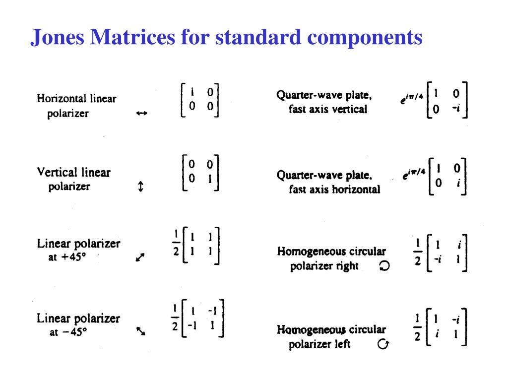Jones Matrices for standard components