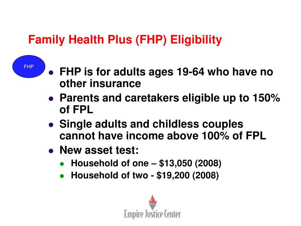 Family Health Plus (FHP) Eligibility