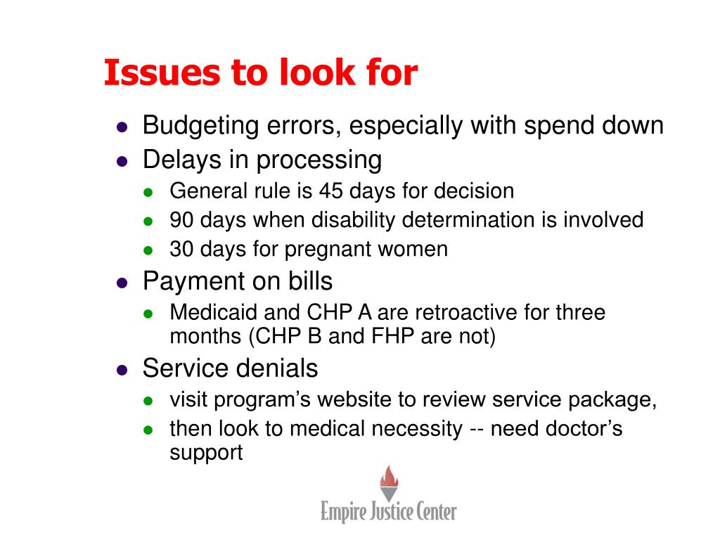 Issues to look for