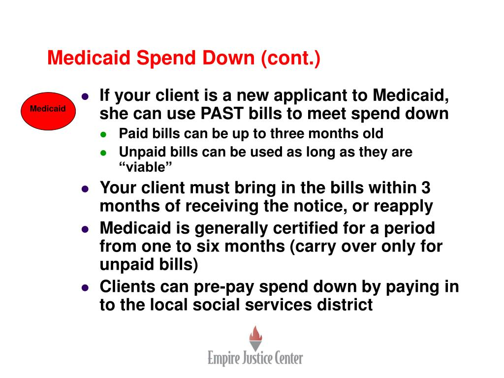 Medicaid Spend Down (cont.)