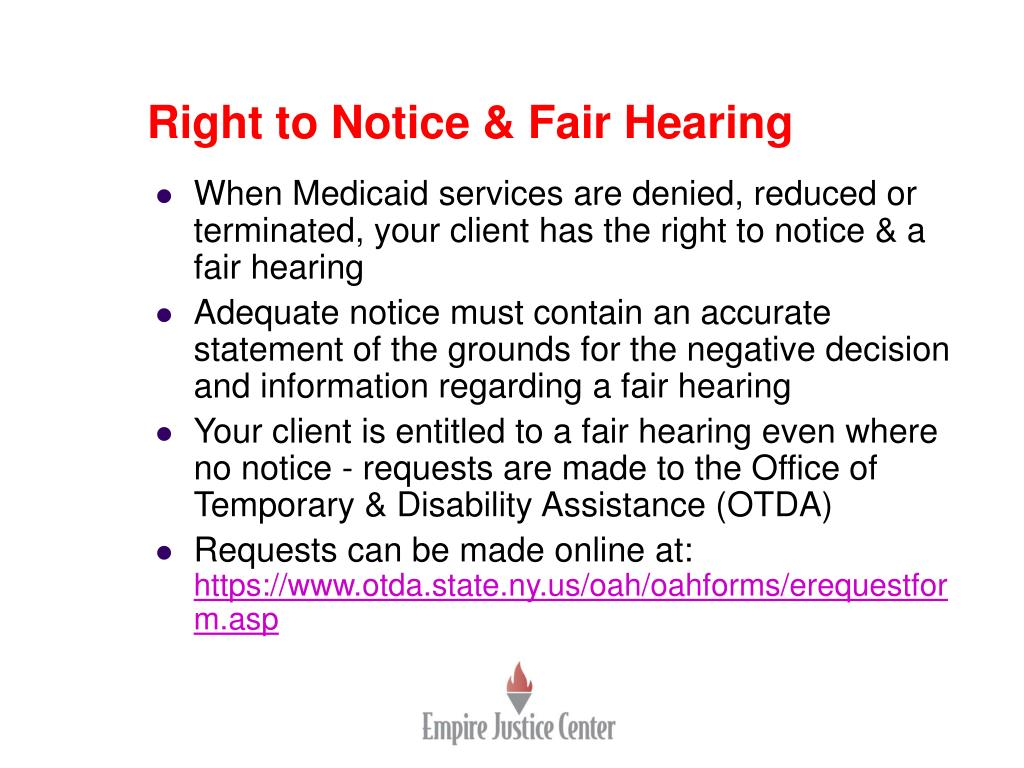 Right to Notice & Fair Hearing