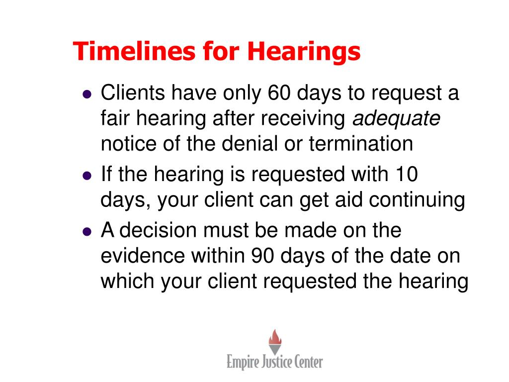Timelines for Hearings