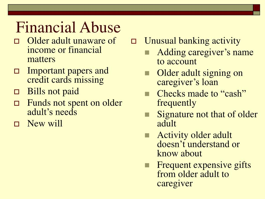 Older adult unaware of income or financial matters