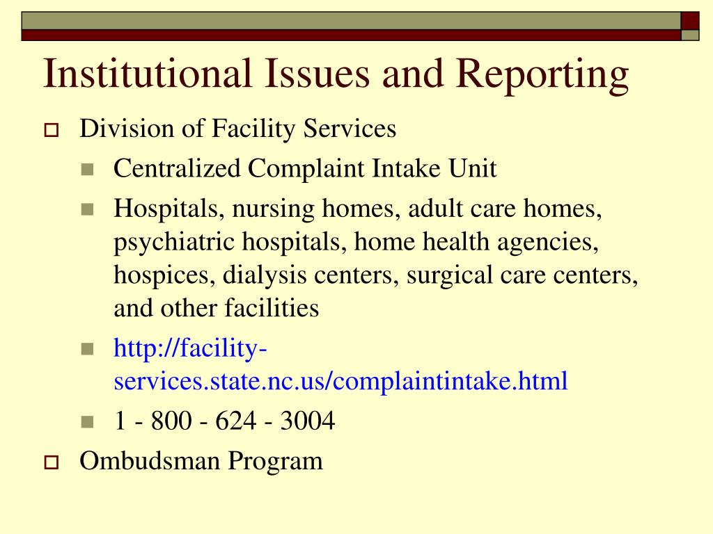 Institutional Issues and Reporting