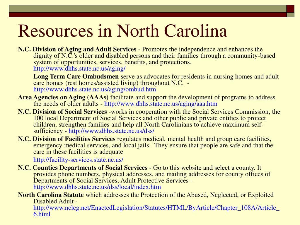 Resources in North Carolina