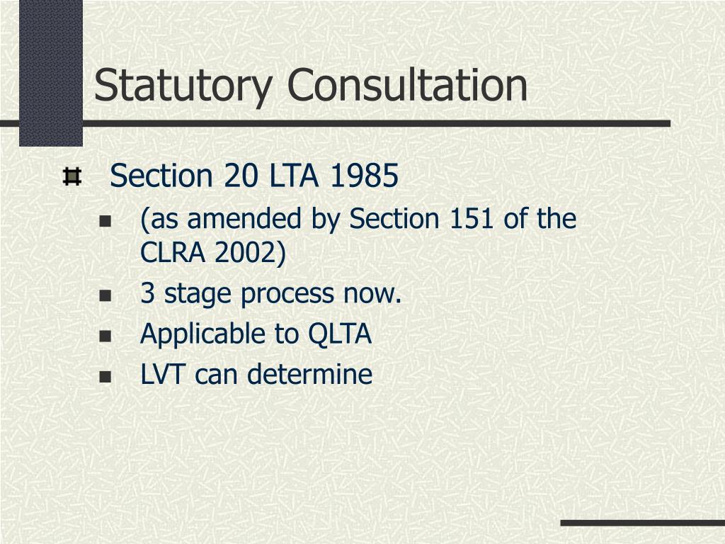 Statutory Consultation
