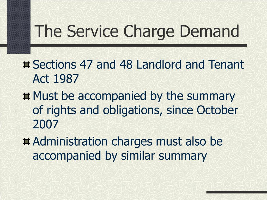 The Service Charge Demand