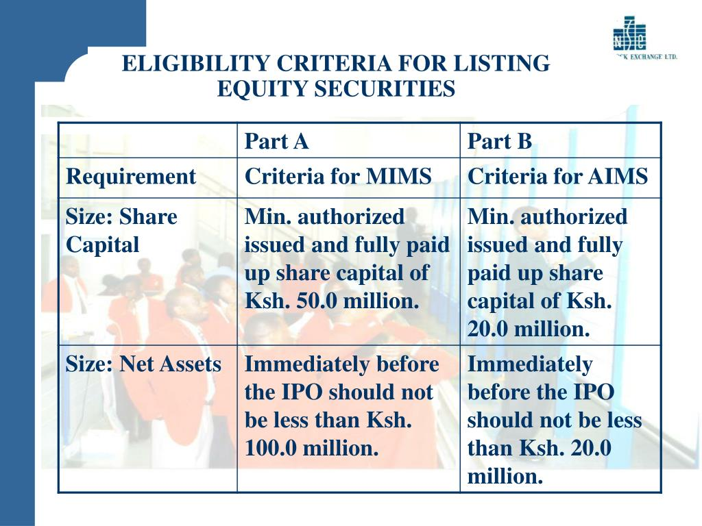 ELIGIBILITY CRITERIA FOR LISTING EQUITY SECURITIES