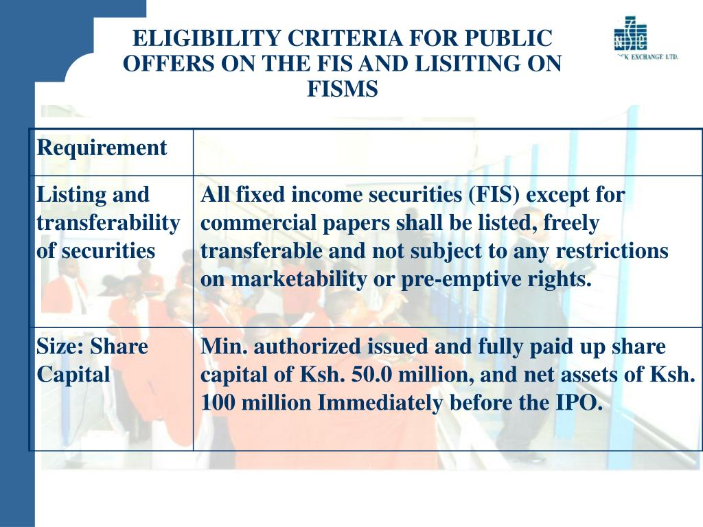 ELIGIBILITY CRITERIA FOR PUBLIC OFFERS ON THE FIS AND LISITING ON FISMS