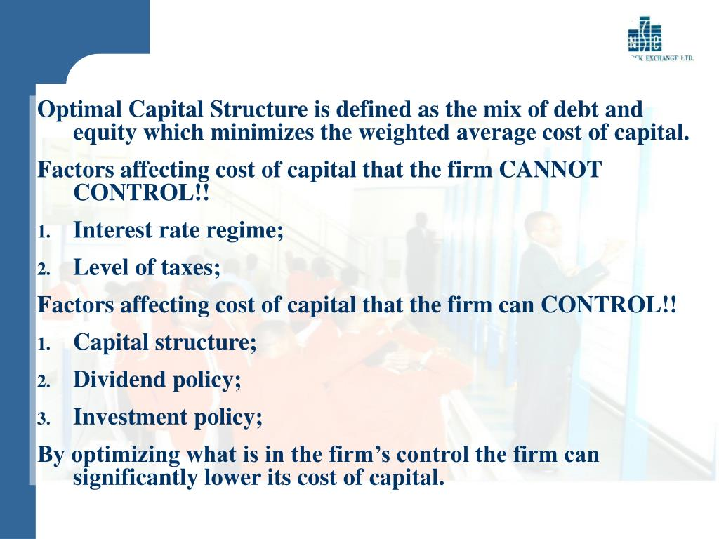 Optimal Capital Structure is defined as the mix of debt and equity which minimizes the weighted average cost of capital.