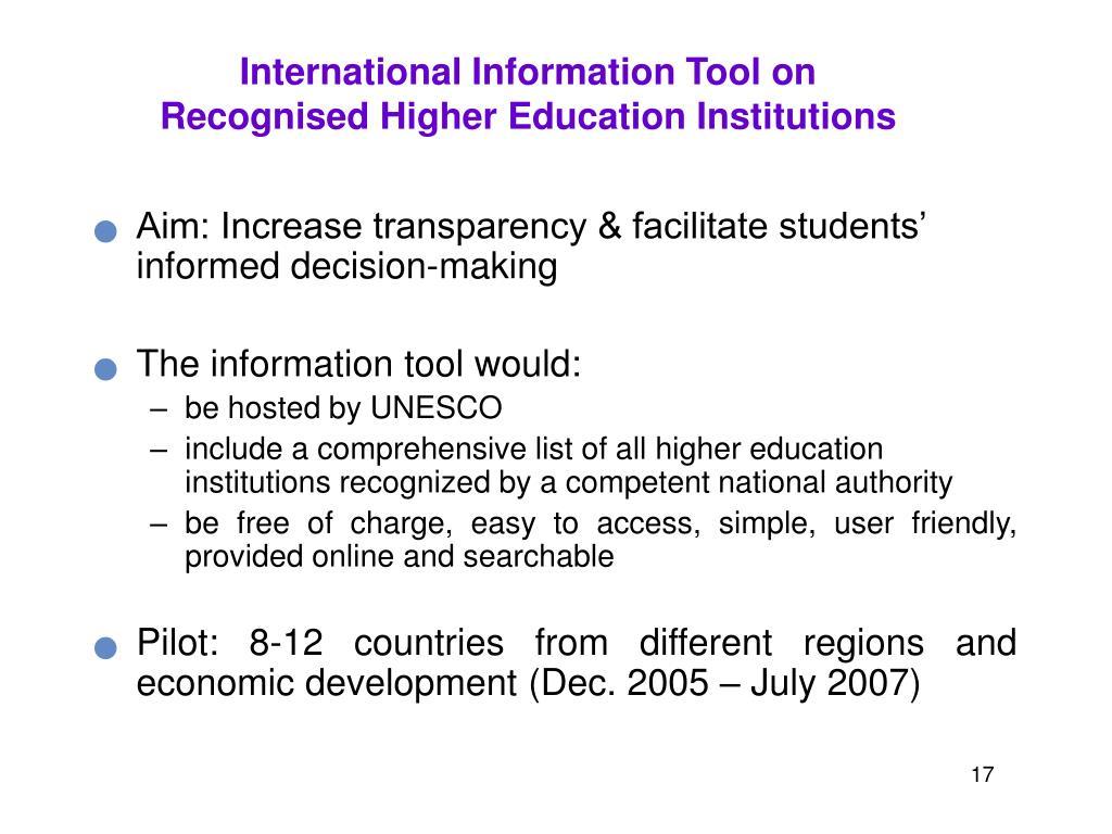 International Information Tool on
