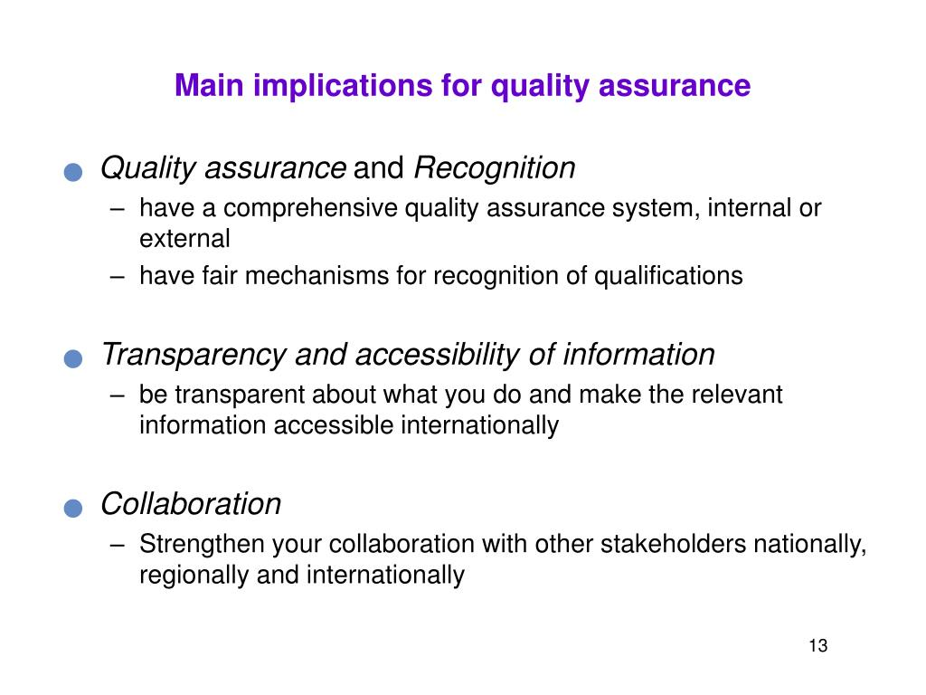 Main implications for quality assurance
