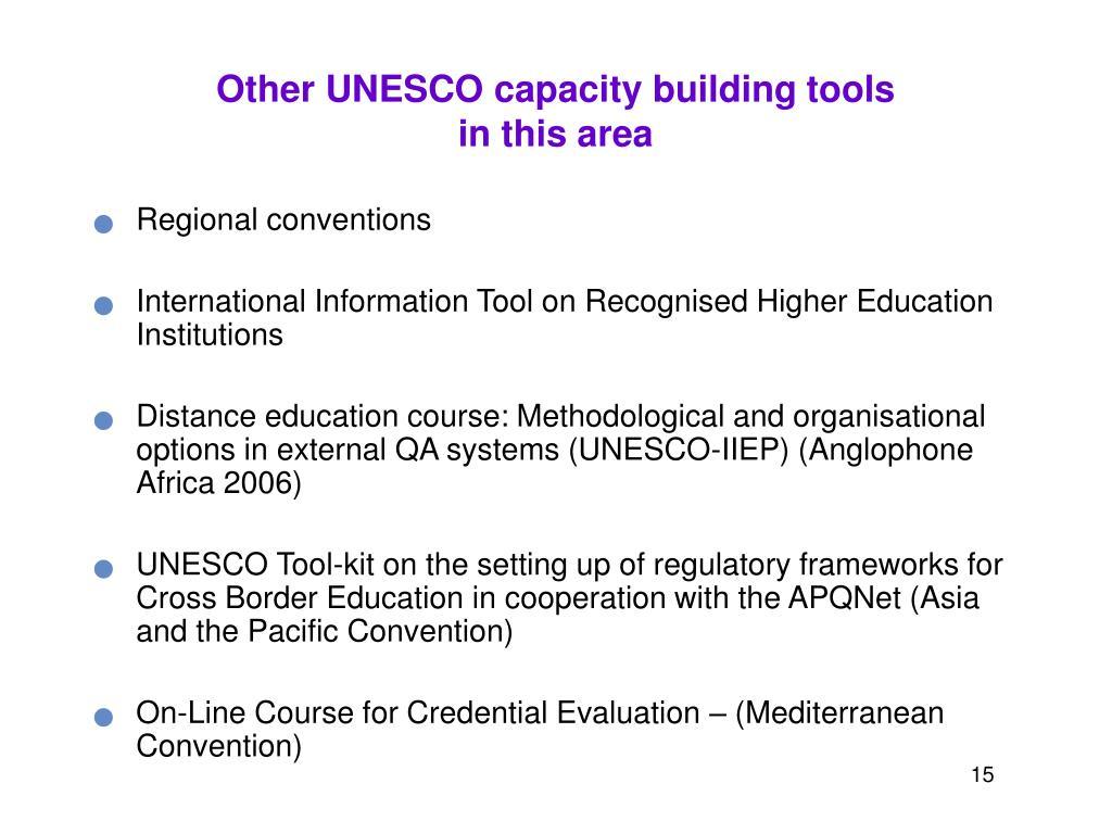 Other UNESCO capacity building tools