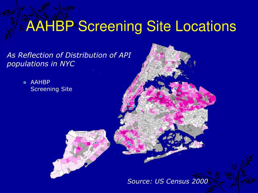 AAHBP Screening Site Locations